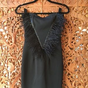 Black Strapless Dress with Feather Trim Detail